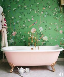 02-a-girlish-space-with-green-and-pink-floral-print-wallpaper-and-a-blush-bathtub-for-a-wow-effect